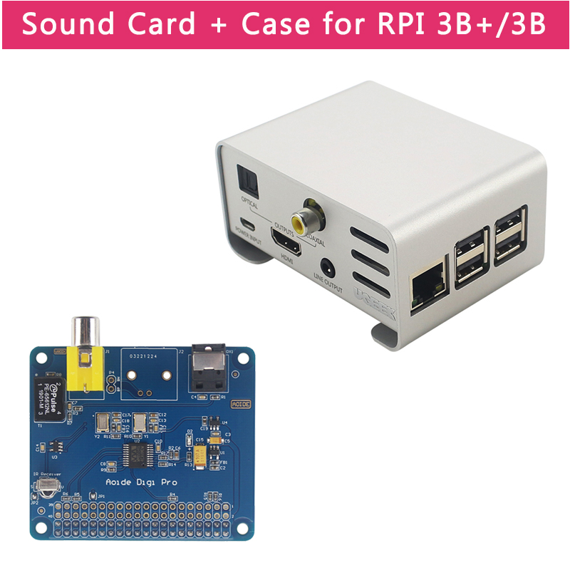 Raspberry Pi AOIDE HIFI DiGi Pro Digital Sound Card For Raspberry Pi 3 Model B+/B | Aluminum Alloy Case
