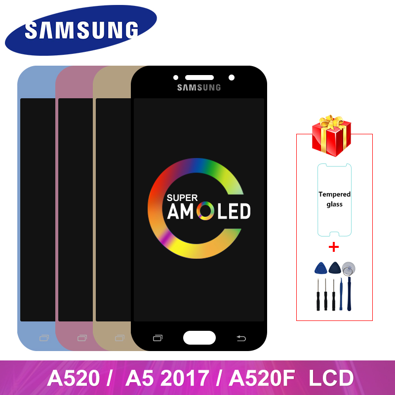 Super AMOLED For <font><b>Samsung</b></font> Galaxy A5 2017 A520 LCD <font><b>Display</b></font> Touch Screen Digitizer Replacement Parts For <font><b>A520F</b></font> SM-<font><b>A520F</b></font> <font><b>Display</b></font> image