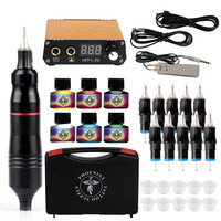 Tattoo Kit Professional Tattoo Machines Pen Set Inks Power Supply Grips Body Art Tools Tattoo Permanent Makeup Tattoo Pen Set