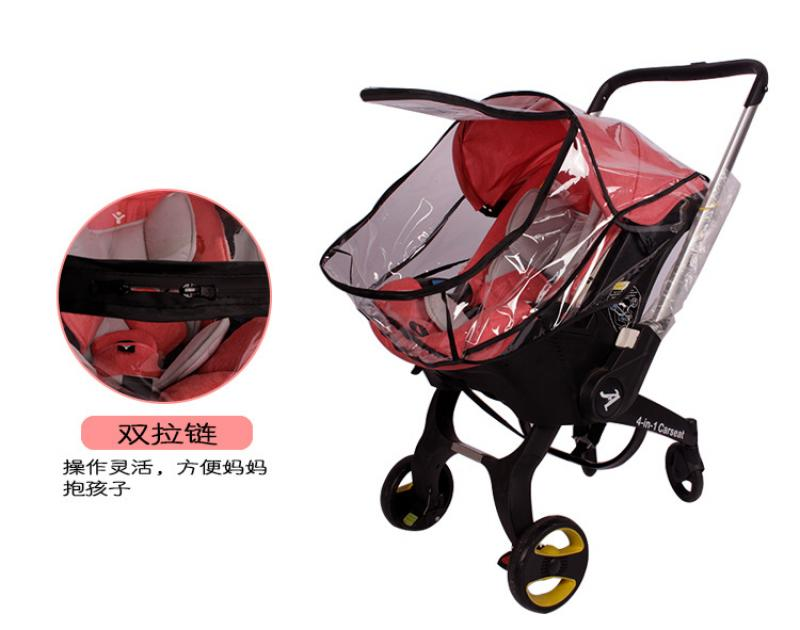 Baby Stroller Mosquito Net Baby Travel Waterproof Windproof Protection Outdoor Air Holes-Transparent Rain Cover Universal