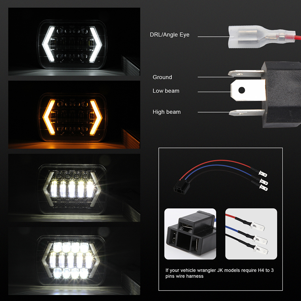 Image 5 - for Jeep Wrangler 300W 7 Inch Combo Led Light Bars Spot Flood Beam  Offroad Car Square LED Work Light Waterproof Fog Light-in Car Fog Lamp from Automobiles & Motorcycles