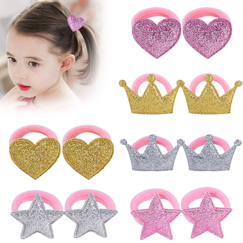 Hair Rope Baby Headdress Children Crown 1Pair Hair Bands Pink Princess Star Adjustable Heart Elastic Hair Accessories
