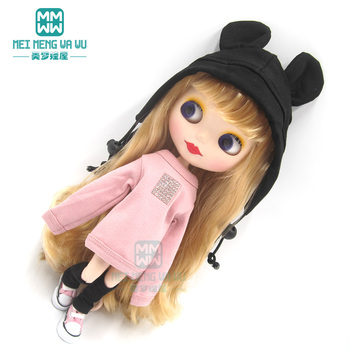 1pcs Blyth Doll Clothes Sequined sweatshirt, sneakers, casual hat, sock for Blyth Azone OB23 OB24 doll accessories 1pcs blyth doll clothes fashion denim clothing t shirts shoes for blyth azone ob23 ob24 1 6 doll accessories