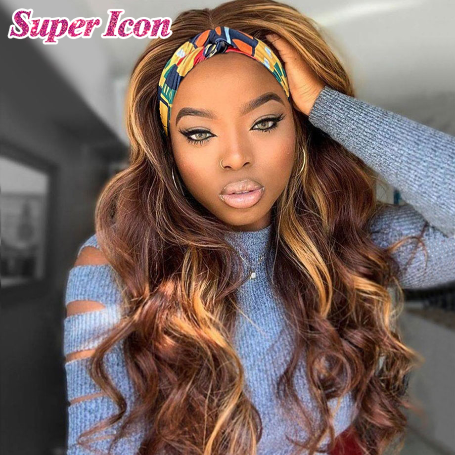 4/27 Highlight Wig Ombre Colored Human Hair Headband Wig Brazilian Body Wave Glueless Human Hair Wigs For Black Women Super Icon