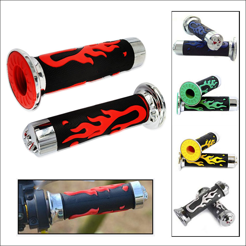 Universal 5 colors 22 24mm Fire Model Skull Colorful Skeleton Rubber Motorcycle Handle Bar Grips Scooter Handlebar For Honda in Handlebar from Automobiles Motorcycles