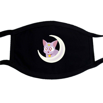 Sailor Moon Face Mask Balck Anime Print Kpop Washable Mask Face Respirator Unisex Mouth Maske Cartoon Anti Dust Mouth-Muffle