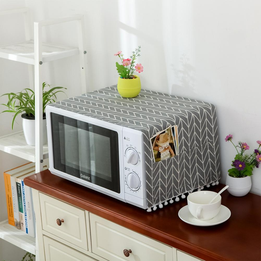 Universal Cotton Linen Dust Cover with Storage Bag for Kitchen Microwave Oven