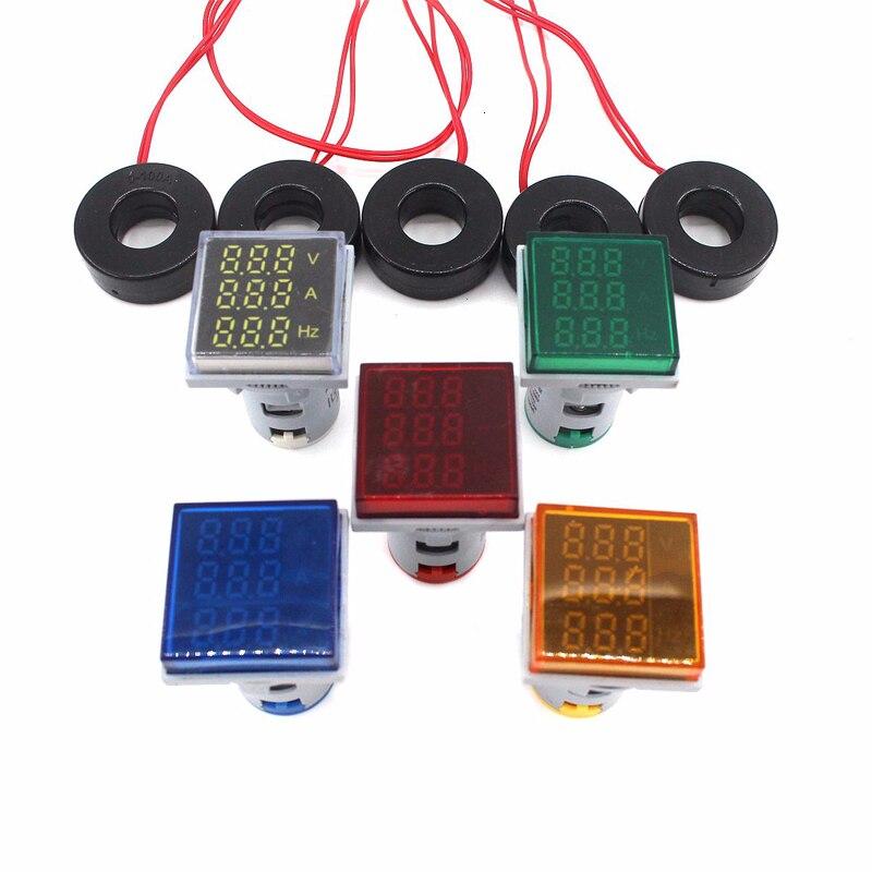 Square LED Digital Ac Ammeter Voltmeter Display Ampere Voltage Current Frequency Combo Meter Indicator Signal Warning Lights