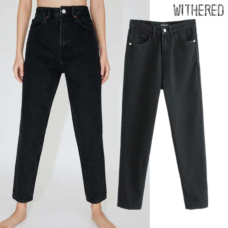Withered 2019 England Preppy Style Mom Jeans Woman Vintage High Waist Jeans Straight Regular Black Boyfriend Jeans For Women