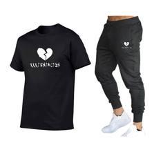 2021 Venta caliente conjunto Casual de marca pantalones Aptidão pantalones verano camiseta camiseta de Hip Hop de los hombres