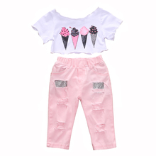 Kids Clothes Little Girls' Summer Outfit Ice Cream Short Sleeve Crop Top+Pink Long Pants with Sequin Appliques Girls Set black white stripes flamingos short sleeves top solid pink ruffle short summer outfit girls boutique clothing with accessories