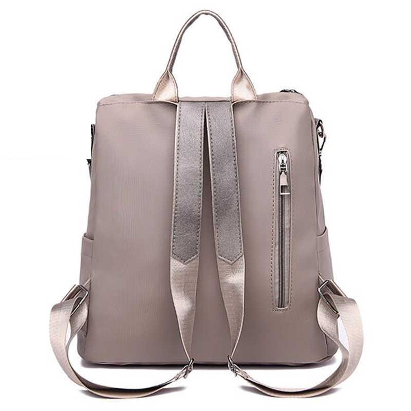 Dorywczo nylonowy plecak jednokolorowy plecak o dużej pojemności dla kobiet Bagpack kobiety prosta torba podróżna na ramię Pack Girl Schoolbag