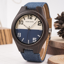 BOBO BIRD Promotion Wood Watch Casual Wristwatch relogio Leather Band To Him Christmas Gift Birthday Present Accept Dropship