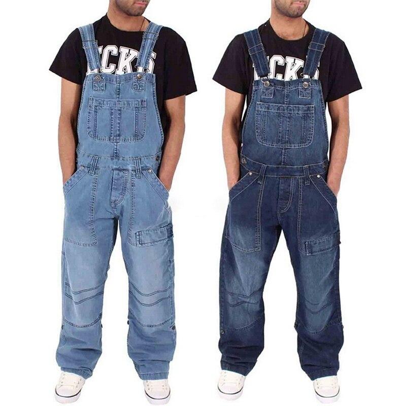2019 Fashion man Casual Loose Pocket Overalls Comfortabele Denim Jumpsuits Bib pants jeans baggy Jeans Man Blauw Broek