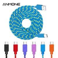 Nylon Geflochtene USB Typ C Kabel 1m/2m Bunte Daten Sync USB Ladegerät Kabel Für Samsung S7 xiaomi Redmi Huawei Telefon Kabel