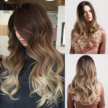 Long Wavy Synthetic Wigs Middle Part Ombre Brown Blonde