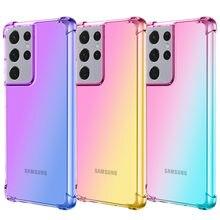 Градиентный полупрозрачный чехол для телефона Samsung Galaxy S21 Plus S20, ультра Радужная подушка безопасности, противоударный чехол для Samsung S20 FE