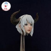 1/6 Bilancia Carino Della Ragazza Testa Sculpt Figura Anime Corno Elf Testa Sculpt per 12 Pollici Femminile TBLeague action Figure