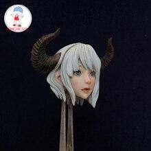 1/6 escala bonito menina cabeça esculpir anime figura chifre elf cabeça esculpir para 12 polegadas feminino tbleague figura de ação