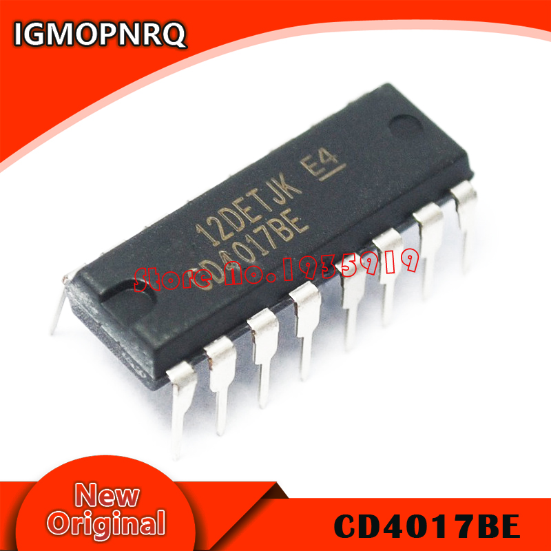 10pcs/lot CD4017 CD4017B DIP-16 CD4017BE DIP 4017 IC New Original Free Shipping