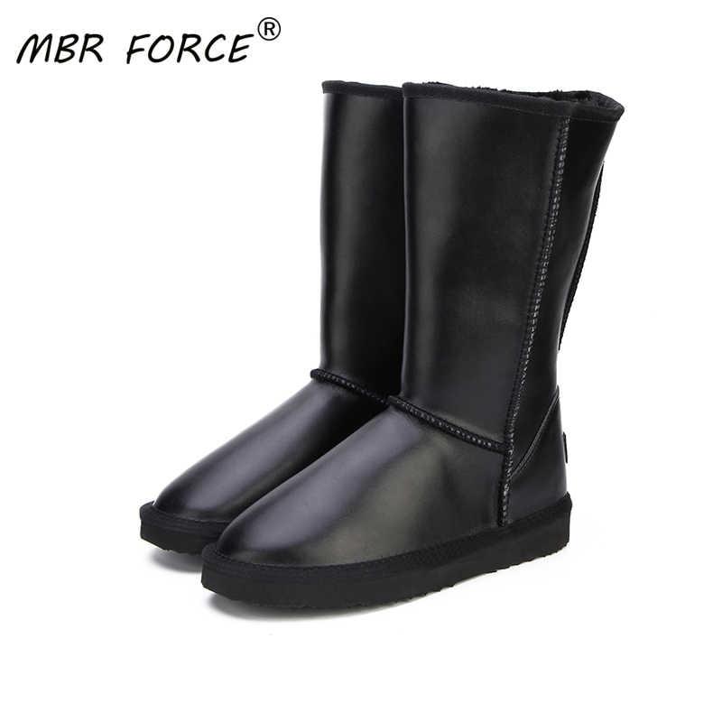 MBR kuvvet 2020 kadın ayakkabı kış çizmeler hakiki inek derisi deri su geçirmez 6 renk moda rahat kadın kar botları abd 3-13