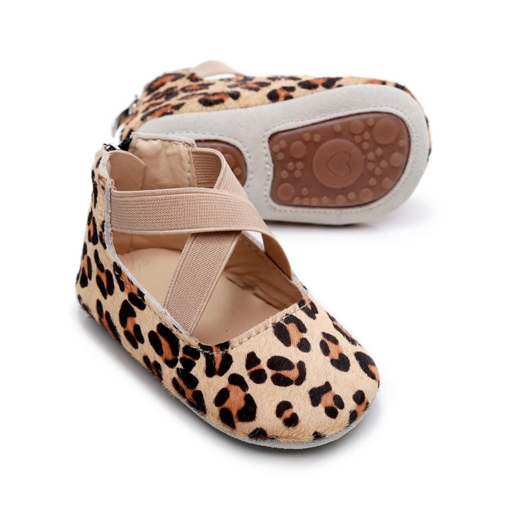 Leopard Genuine Leather Ballet Flats Girls Shoes Princess Infant Toddler Crib Girls First Walkers Hard  Soled Anti-Slip Shoes