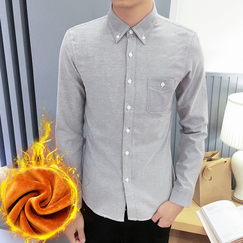 2018 New Style Plus Velvet Gray Men's Casual Slim Fit Oxford Cloth Solid Color 8-Color Shirt Oxford Woven Shirts