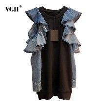 VGH Patchwork Rüschen Sweatshirt Für Frauen O Neck Schmetterling Kurzarm Pullover Casual Sweatshirts Weibliche 2020 Herbst Neue Stil