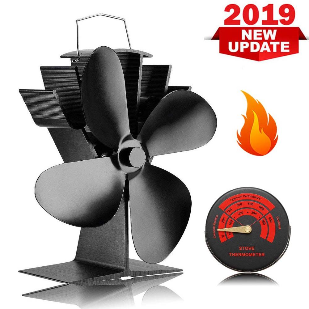 Silent Operation 4-Blade Heat Powered Stove Fan For Wood/Log Burner/Fireplace - Eco Friendly [Energy Class A+++] With Thermomete