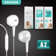 Arikasen in-ear com fio fone de ouvido 3.5mm fones de ouvido música esporte gaming fone de ouvido com microfone controle em linha som estéreo