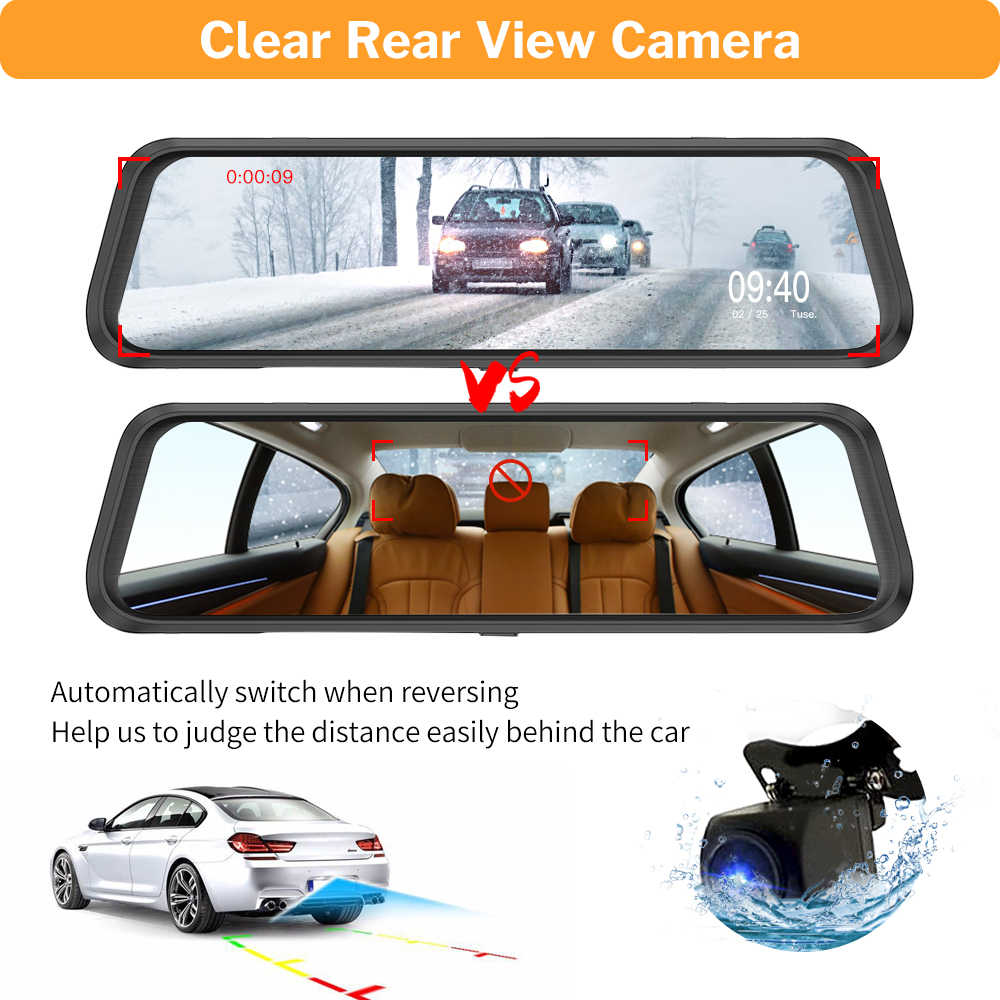 Deelife 10 ''車のダッシュカムミラー DVR カメラフル Hd 1080P デュアルカメラ自動ビデオレコーダーストリームメディアバックミラー
