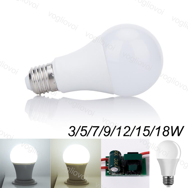 Vogliovoi Led Light Bulbs A Style 85~265v 3W 5W 7W 9W 12W 15W 18W Aluminium Plastic SMD2835 PC Cover Warm White Brightness E27
