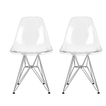 1 Pair/2pcs Minimalist Transparent Dining Chairs Home office Antechamber Chair Plastic Backrest Steel Legs Coffee Chair