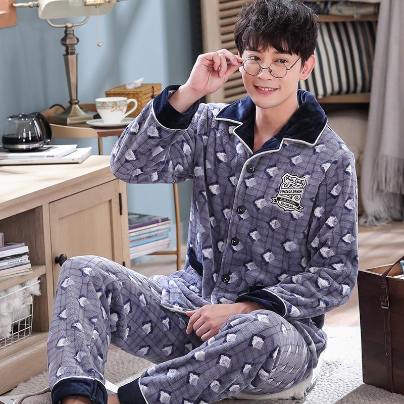 Autumn Winter New Geometric Men Flannel Pajamas Set Long Sleeve Printed Coral Fleece Thicken Warm Pyjamas Male Home Clothes 4XL