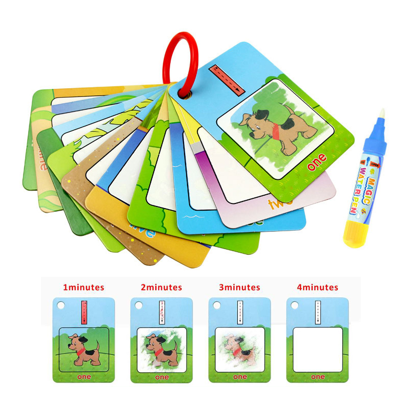 3 Types Reusable Water Drawing Learning Card & 1 Magic Pen Recognize Painting Board Educational Toys For Kid English Learning