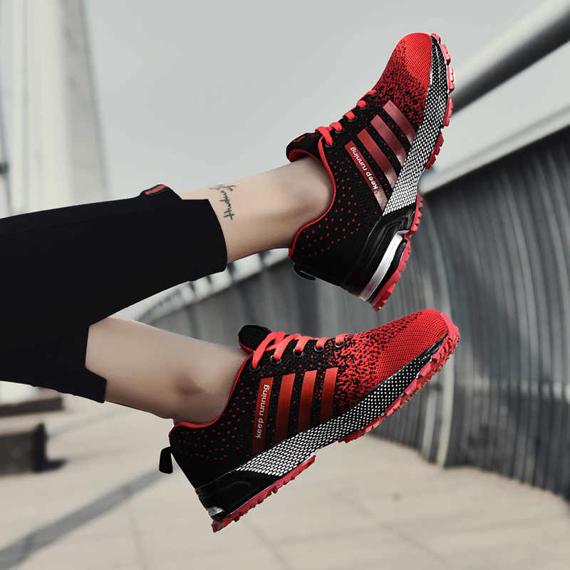 2018 Men Sports Sneakers Breathable Men's Running Red Lightweight Sneakers Woman Height Increasing Breathable Shoes off white