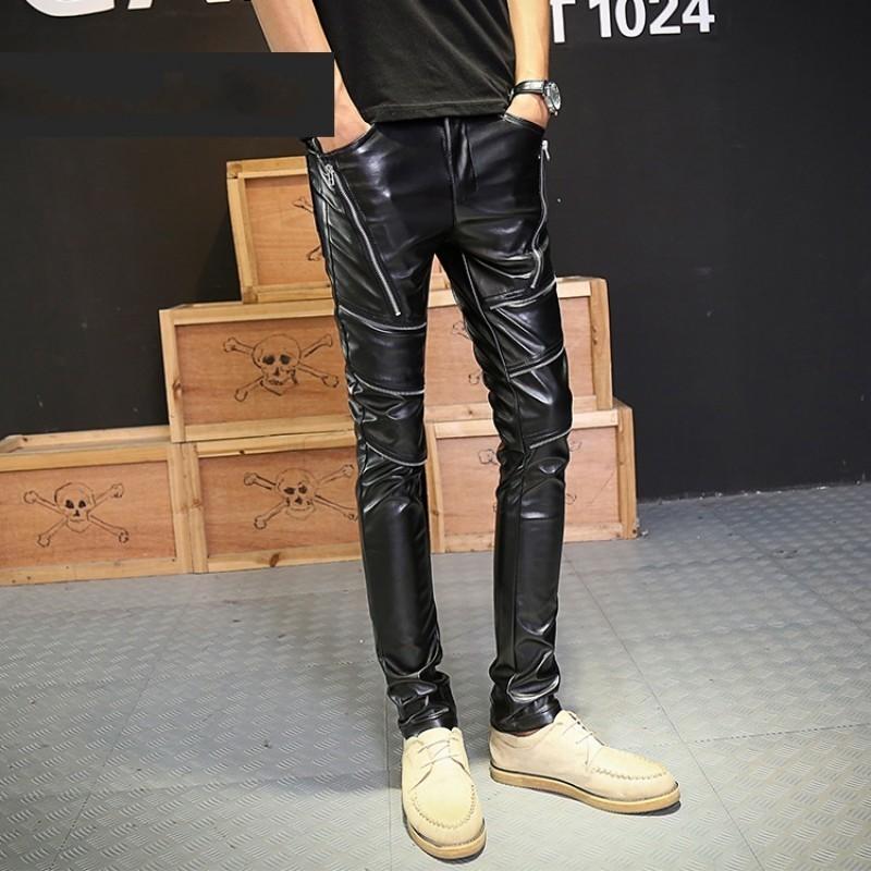 2020 New Fashion PU Faux Leather Mens Pants Motorcycle Zipper Punk Men Slim Fit Trousers Casual Nightclub Skinny Pencil Pants