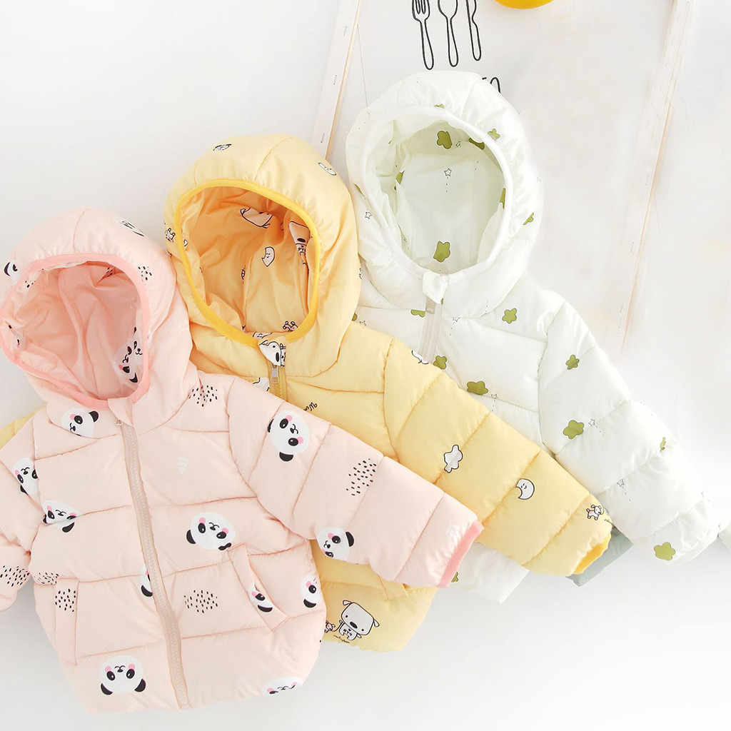 winter Cartoon baby coat newborn infant Jackets Cute Cartoon Print  Zip warm Thick Snowsuit lovely Hooded Outwear пальто детское