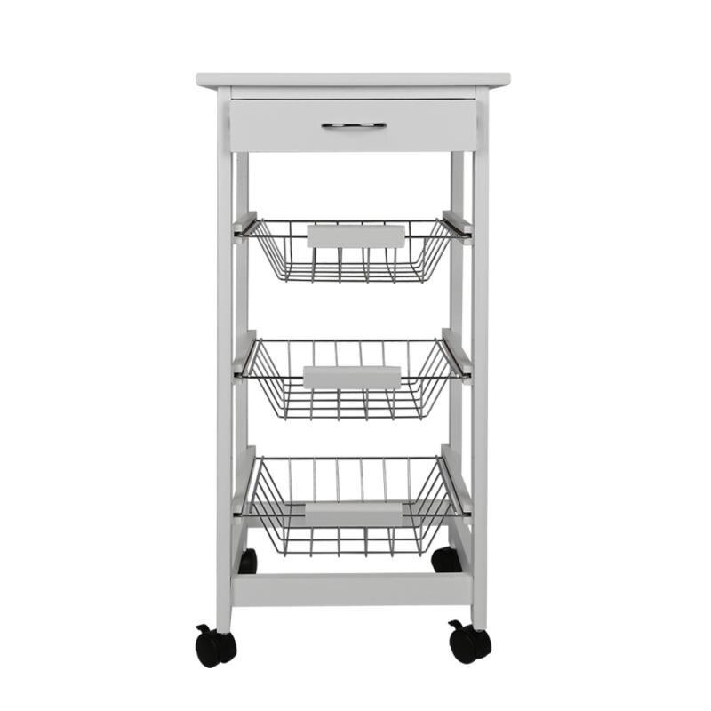 White 3 Layer Movable Kitchen Trolleys Portable Kitchen Seasoning Rack 37x75cm HWC
