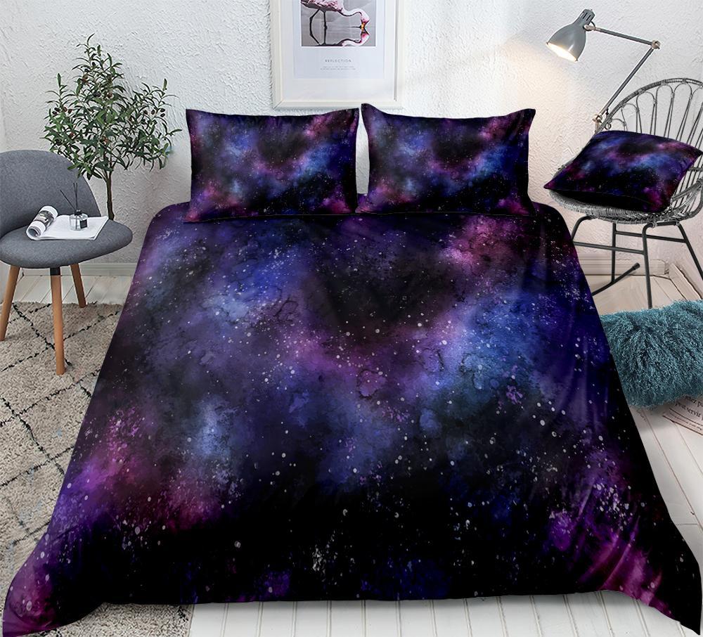 3D Galaxy Bedding Set Outer Space Quilt Cover Queen Home Textiles Blue Purple Universe Duvet Cover Set 3PCS King Dropship Teens