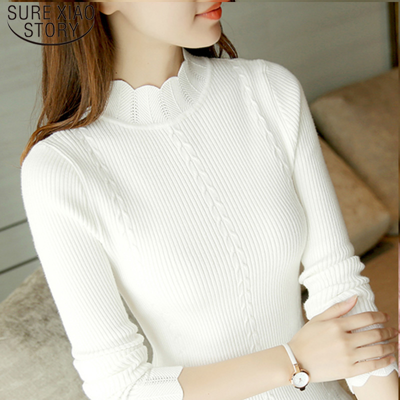 Fashion 2019 Korean Slim Women Knit Sweater High Elastic Turtleneck Bottoming Basic Pullovers Winter Sexy Sweater Women 7570 50