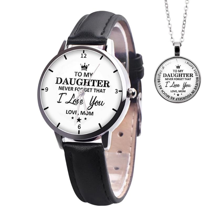 2pcs/set Leather Band Watch Pendant Necklace Women Analog Quartz Watches