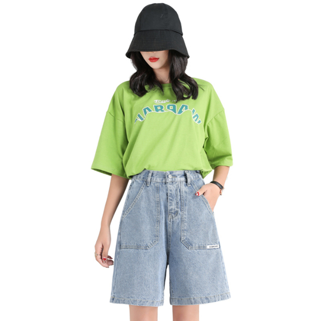 Plus Size Woman Shorts 2020 Wide Leg Bermuda Denim Short pants Jeans Shorts High Waisted Bermuda Femme Pocket Casual BF Clothing