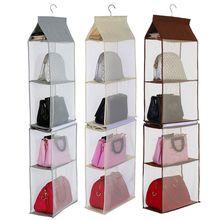 Detachable 4 Pockets Hanging Purse Handbag Tote Bag Storage Organizer Wardrobefor kitchen or bathroom