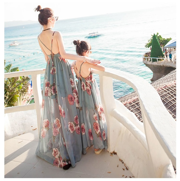 Summer Tank Mesh Mother Daughter Dresses Family Look Mommy And Me Matching Clothes Flower Mom Mum And Baby Women Girl Long Dress