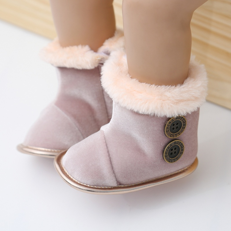 0-18M Fashion Autumn Winter Baby Girl Boy Cotton Button Design Boots Casual First Walkers Newborn Cute Non-slip Soft Sole Shoe
