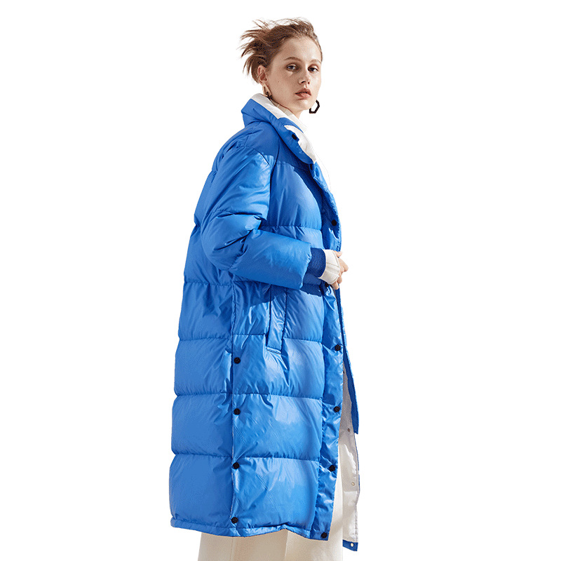 Down Jacket Female 2019 New Fashion Lapel In The Long Section Of Thin White Duck Down Long-sleeved Down Jacket Coat Female