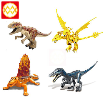 Einzelnen Tiere Eidechse Schwere Klaue Welt Park Dinosaurier Drachen König Ghidrah Polar Bär Velociraptor Bausteine Spielzeug Für Kinder