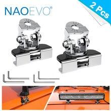 Naoevo led barra de luz suporte de montagem universal ajustável pilar capô led trabalho luz suporte braçadeira titular offroad instalação