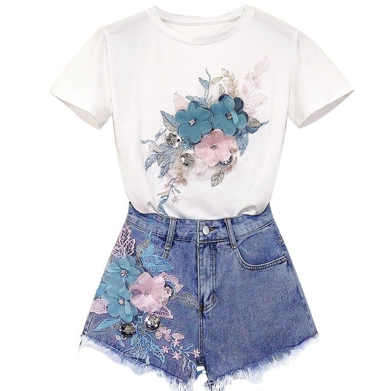 European Women Cotton Tees Shorts 2Pcs Sets Casual 3D Flowers Cotton T-Shirts Short Beading Jeans Suits
